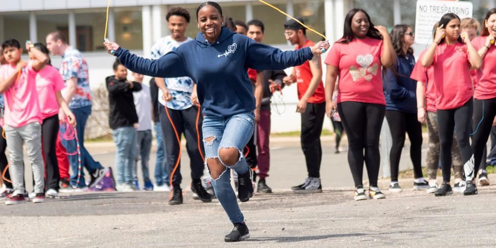 Nassau BOCES Barry Tech students jump rope for a good cause — the American Heart Association.